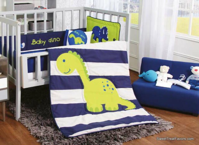 Dino Dinosaur Blue Crib Bedding Set, Dinosaur Nursery Crib Bedding