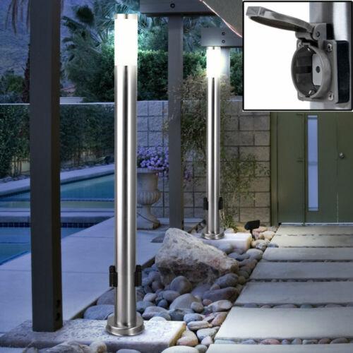 Edelstahl LED Außen Leuchte Steh Lampe 2x Steckdosen Stromverteiler Garten Hof