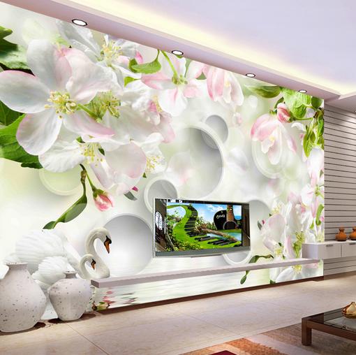 3D Peach Flower Swan 7 Wall Paper Murals Wall Wall Wall Print Wall Wallpaper Mural AU Kyra 61fbfa