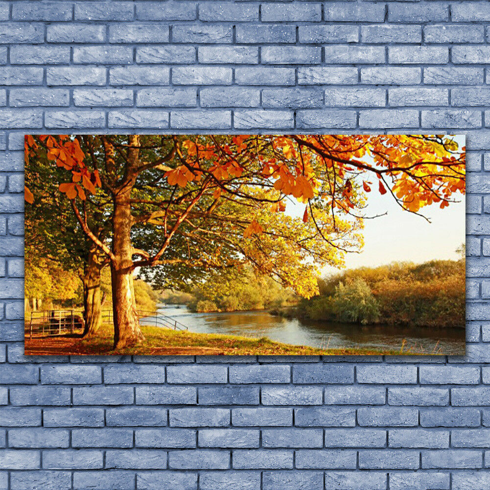 Print on Glass Wall art 140x70 Picture Image Tree Lake Nature