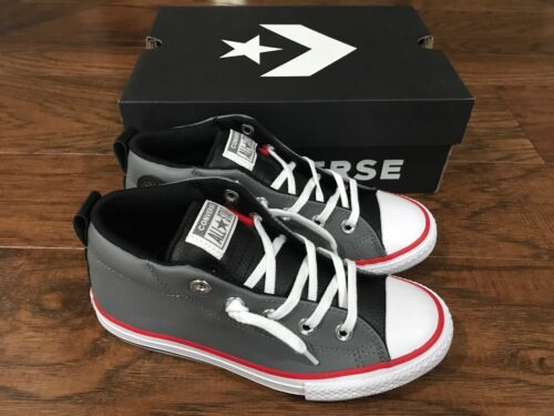 Black //White 11 12 4 NEW Junior Boys Converse CTAS Street Mid Shoes Mason Gray