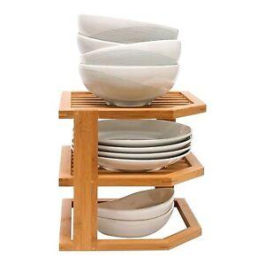 Image is loading Bamboo-3-Tier-Corner-Shelf-Unit-Kitchen-Plates-  sc 1 st  eBay & Bamboo 3 Tier Corner Shelf Unit Kitchen Plates Rack Cupboard ...