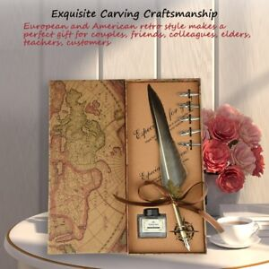 Feather-Writing-Fountain-Caligraphy-Dip-Pen-Quill-With-5-Nibs-amp-Box-Set-Gifts