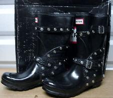 Hunter Limited Stud Buckle Festival Short Black Rubber Biker Boots US6 EU37 EUC