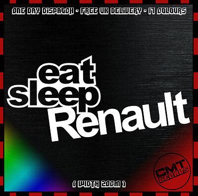 Ultima Raccolta Di Eat Sleep Renault Auto Decalcomania Paraurti Adesivo Novità Francese Euro Clio - 17 Colori- Alta Qualità E Basso Sovraccarico