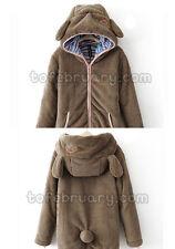 Women Girl Winter Loose Hoodie Coat Fluffy Bear Ear Hooded Jacket Warm Outerwear