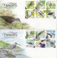 Vanuatu 2012 FDC Birds Defintives 12v Set on 2 Covers Heron Dove Swamphen Petrel