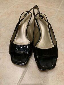FRANCO SARTO Size 9.5 M Open Toe Wedge SLINGBACK Black Patent. Pre-Owned.