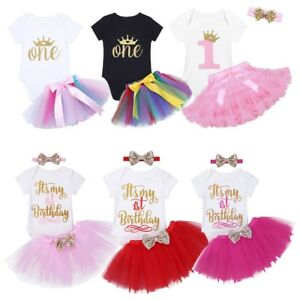 40528ef04 Toddler Baby Girls 1st Birthday Romper + Tutu Skirt+ Headband Party ...
