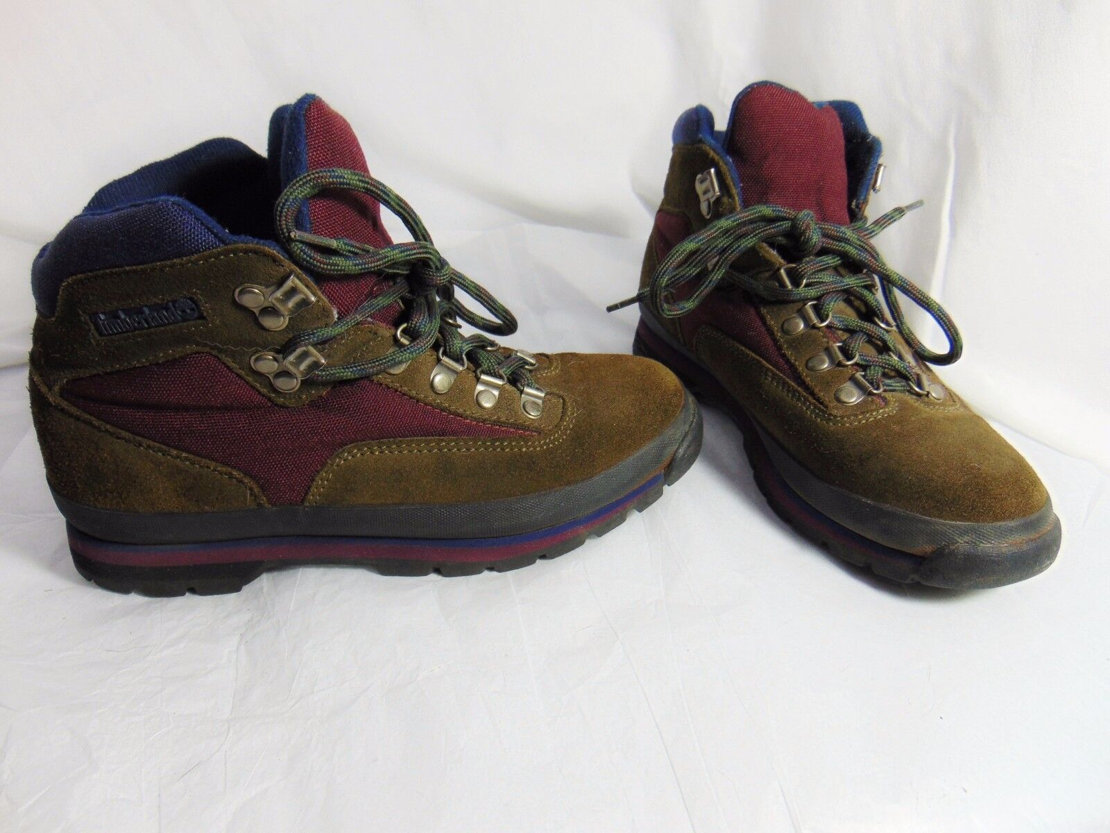 TIMBERLAND Vintage 80s 90s Women's Alpine Style Boots 8.5 M Brown Burgundy Blue