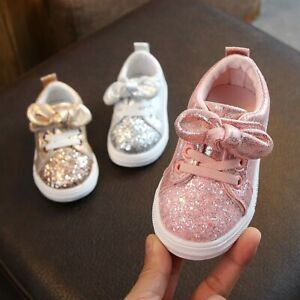 Children-Baby-Girls-Boys-Bling-Sequins-Bowknot-Crystal-Run-Sport-Sneakers-Shoes
