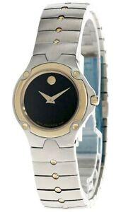 MOVADO Mini Sport SS Black Museum Dial Two-Tone Women's Watch 0604814