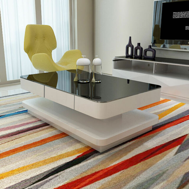 High Gloss White Coffee Table With Black Tempered Glass Top 2 Layers