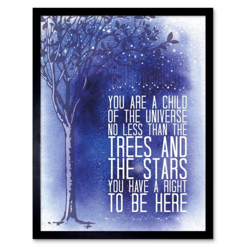 Quote Desiderata Stars Child Universe Motivation 12X16 Inch Framed Art Print