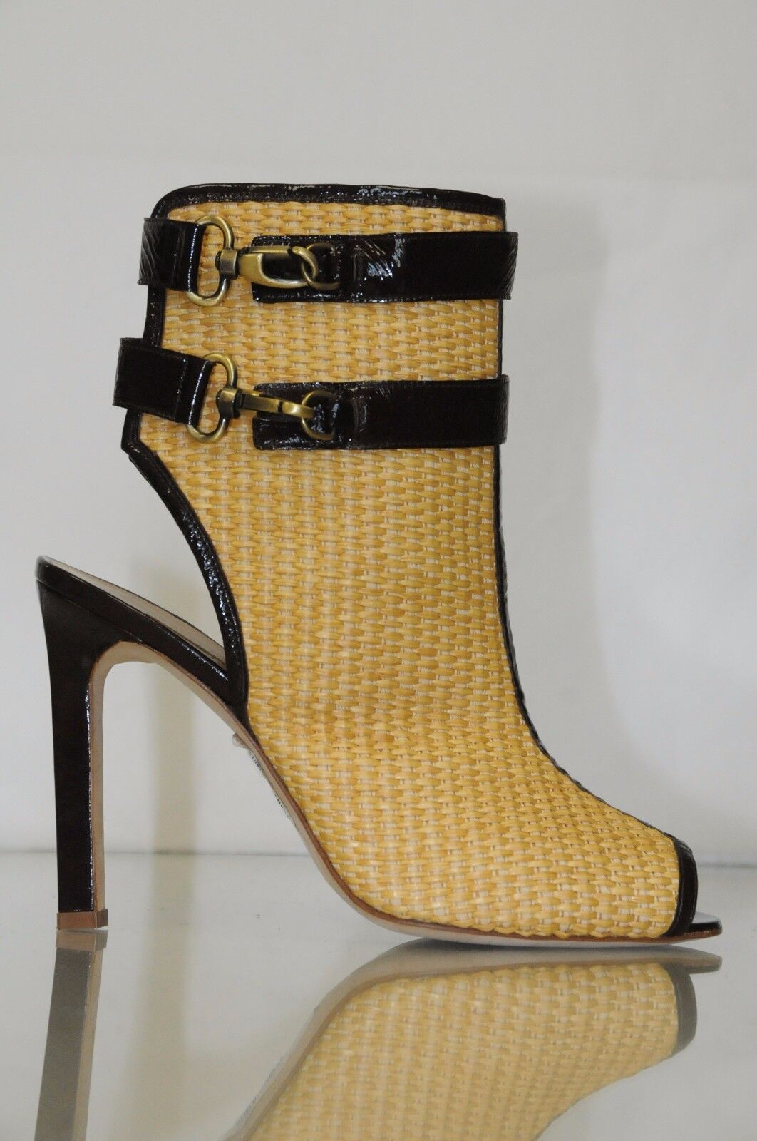 New MANOLO BLAHNIK Raffia Straw SANDALS BOOTIES Ankle BOOTS SHOES 38