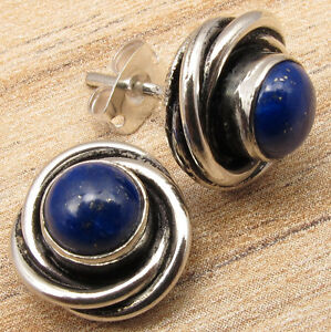 Navy-Blue-LAPIS-LAZULI-Studs-Earrings-925-Silver-Plated-HANDMADE-Gift