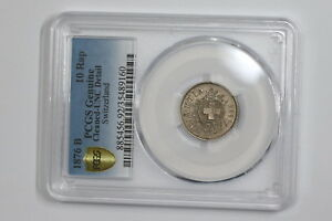 SWITZERLAND-10-RAPPEN-1876-PCGS-UNC-CLEANED-A97-RCP12