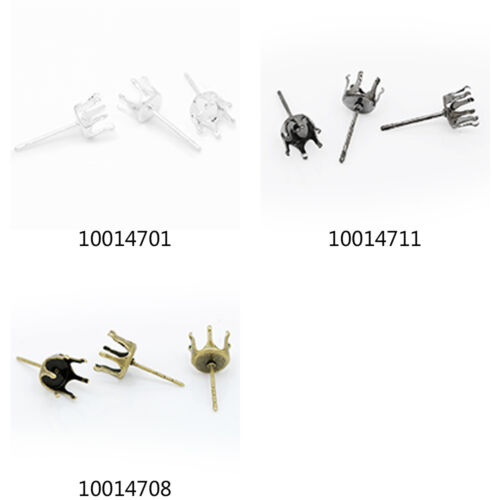 6mm Bezel Earrings Crown Claw Setting Earring Stud 20Pcs Suitable for ss28