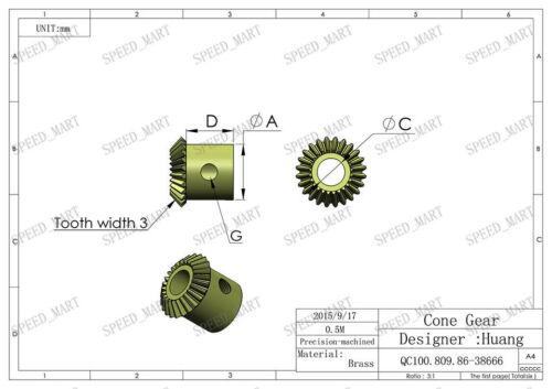 2 PCS 0.5M-24T Metal Umbrella Tooth Bevel Gear Helical Motor Gear 24T 4mm Bore