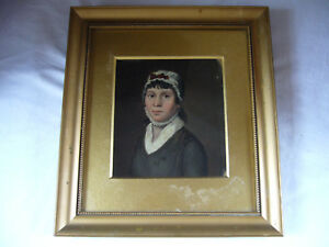 Antique-Georgian-Small-Framed-Oil-Painting-Portrait-Female-Lady