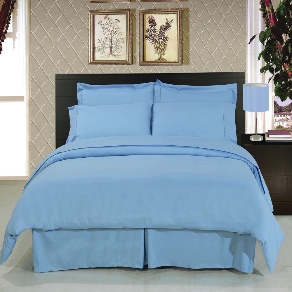 8pc Luxury Light Blau Duvet Cover & Comforter Bedding w Microfiber Sheet Set