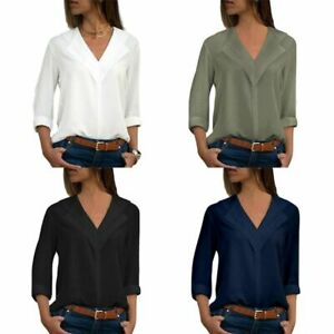 Women-Plus-Size-Long-Sleeve-V-Neck-T-Shirt-Notched-Lapel-Collar-Loose-Blouse
