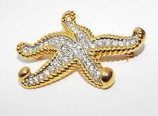 Signed 2000 P.S. Co clear rhinestone STARFISH figural BROOCH pin costume jewelry