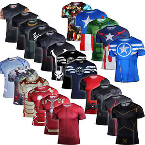 Superhero-Marvel-Compression-Men-039-s-T-Shirt-Short-Sleeve-Sports-Gym-Top-Tee-Shirt