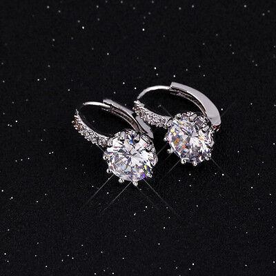 1 Pair Silver Plated Fashion Women Crystal Rhinestone Ear Stud Earrings Jewelry