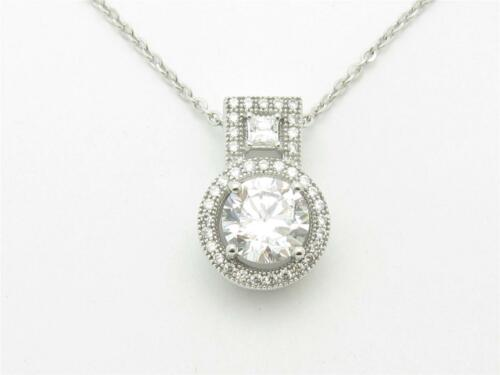 PLATINUM STERLING SILVER PAVE WHITE SAPPHIRE ROUND CUT BRIDAL PENDANT NEW GIFT