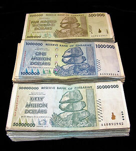 100 x Zimbabwe 500000 dollar banknotes-2008//DAMAGED//POOR CONDITION CURRENCY