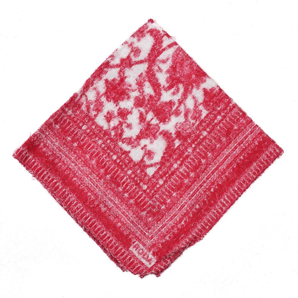NWT RODA Textured Fuchsia Pink and White Paisley Print Pocket Square