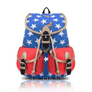 Image is loading DC-Comics-Wonder-Woman-Unisex-Backpack-Star-Bookbag- 03e596d395