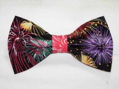 Colorful Fireworks on Black Fireworks Bow tie Pre-tied Bow tie Patriotic