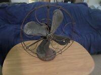 "Antique GE Electric Oscillating Vintage Green Table / Desk 17"" Fan Cage Parts US"