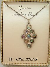 NOS Vintage Hoffman H Creations Genuine Abalone Pearl Necklace Mod boho in box