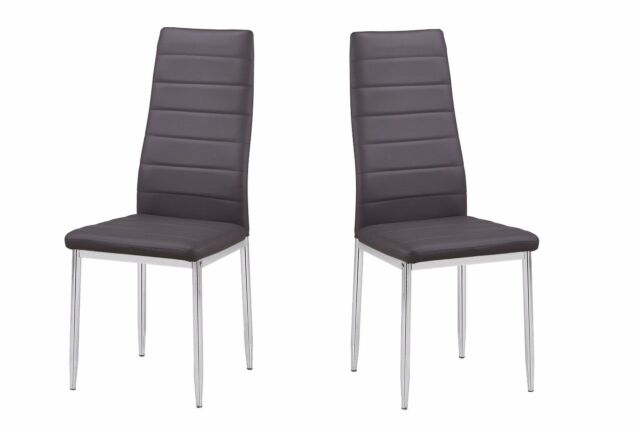 New Casual Design Gray Bi Cast Leather Chrome Legs Dining Side Chairs Set of 4pc