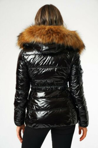 LADIES WINTER PUFFER JACKETS SHINY FINISH IN BLACK WITH BELT THICK FAUX FUR TRIM