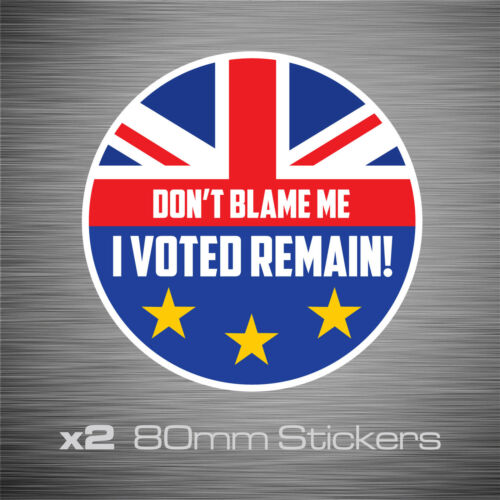 2 EU0006 - I Voted Remain In The EU Stickers Vinyl Decals Two 80mm x 80mm