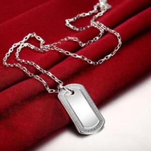 Elegant 925 Sterling Silver Dog Tag Pendant Box Chain Mens Womens ... aed129854
