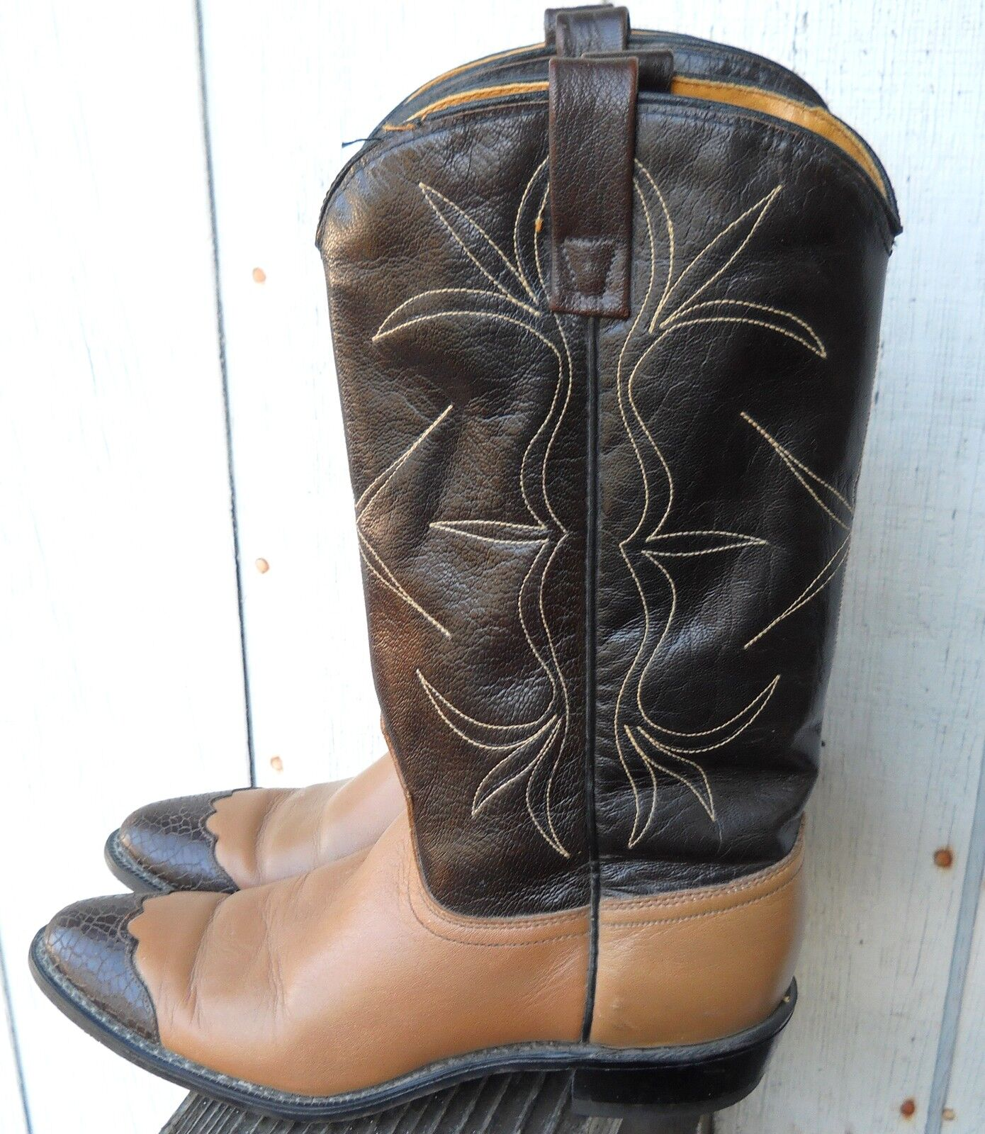 CLASSIC ACME WOMEN'S TWO TONE BROWN SIZE 7.5-C HARD COWBOY BOOTS ALL LEATHER HARD 7.5-C SOL a57fd5