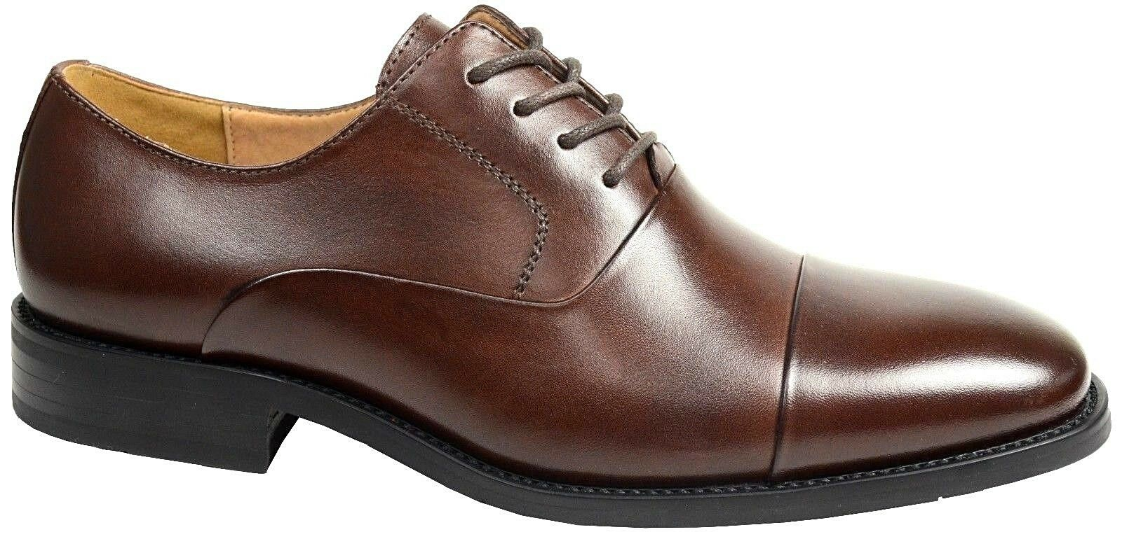 LA MILANO Mens Dress shoes Cow Leather Oxfords Classic Round Cap toe Brown F591