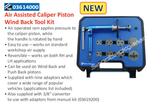 Sykes Pickavant Air Assisted Brake Caliper Wind Back Tool Kit 03614000