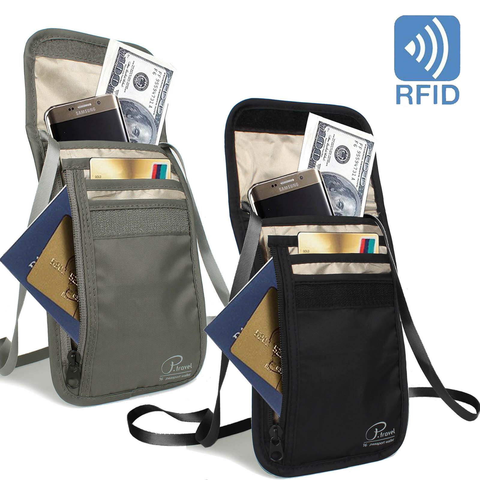 Travel Passport Neck Bag RFID Blocking Cell Phone Wallet Pouch Purse w... - s l1600