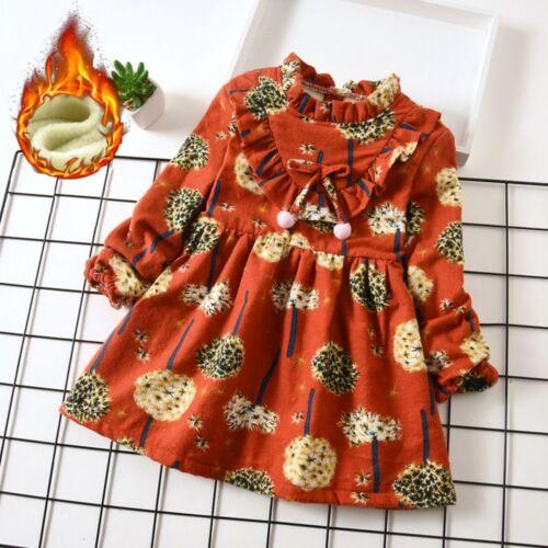 Toddler Baby Girls Long Sleeve Dress Kids Thick Floral Print Princess Dresses LR
