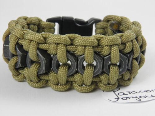 Paracord Bracelet avec noirs hexagonal écrous-hommes bracelet-Biker