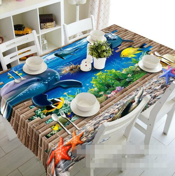 3D Ocean Dolphins Tablecloth Table Cover Cloth Birthday Party Event AJ WALLPAPER