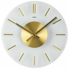 NEU große AMS Wanduhr Uhr Gold Messing Mineralglas 30 cm Büro Business