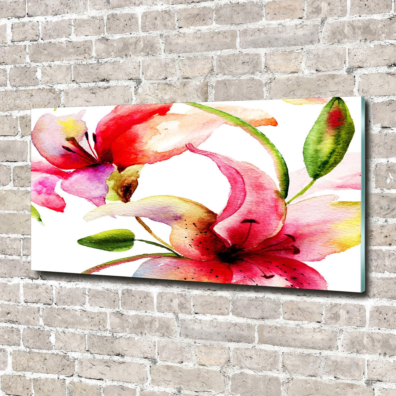 Pa rojo   rojo de pantalla de cristal cuadros impresión en cristal 140 x 70 flores decorativas y plantas de lirio 1037c1