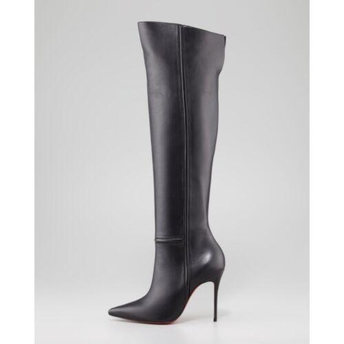 Women Pointed Toe Knee Boots Solid Thigh high Boots Zipper Stilettos High Heels